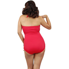 Pinky Pinups Roll Up Halter One Piece Swimsuit Red Vintage Rockabilly Pin Up