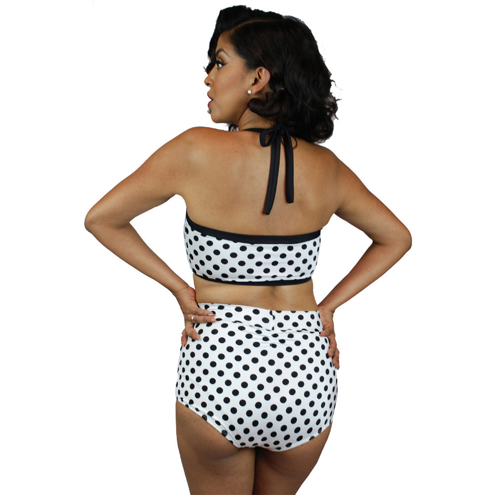 Pinky Pinups White/Black Dots Vintage Two-Piece Swimsuit Retro Rockabilly Pin Up