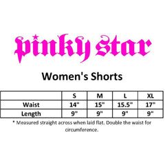 Women's Pinky Star Poison Heart Shorts Black Skull Bones Punk