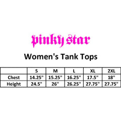 Women's Pinky Star Army Girl Racerback Tank Top White/Black Rockabilly Pin Up