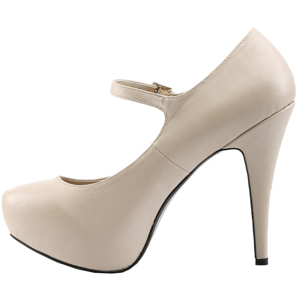 Pleaser CHLOE-02 Mary Jane Concealed Platform Pump Cream Size 9-16