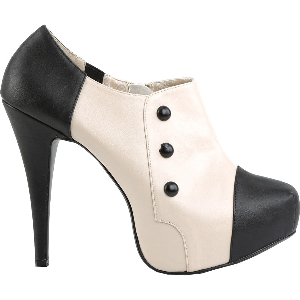 Pleaser CHLOE-11 Concealed Platform Ankle Boot Cream/Black Size 9-16 Retro