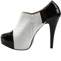 Pleaser CHLOE-11 Concealed Platform Ankle Boot White/Black Size 9-16 Retro