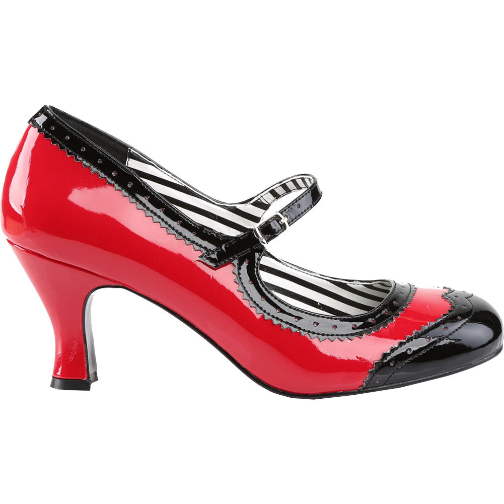 Pleaser JENNA-06 Spectator Mary Jane Pump Red/Black Size 9-16 Rockabilly Pin Up