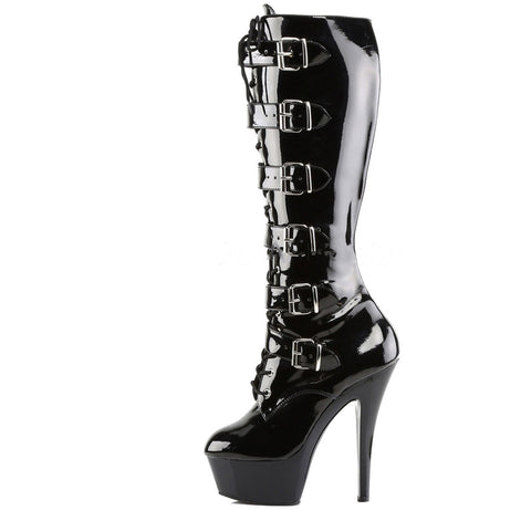 Pleaser Kiss-2049 Stiletto Heel Platform Knee Boot Black Goth Fetish