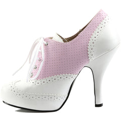 Pleaser PINUP-07 Platform Two Tone Pump White/Pink Size 9-16 Retro Rockabilly