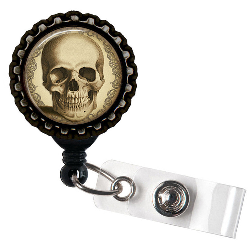 Project Pinup Antique Steampunk Skull Badge Reel Black Punk Goth