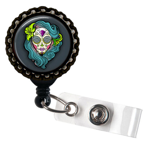 Project Pinup Teal Dia De Los Muertos Sugar Skull Black Badge Reel Black
