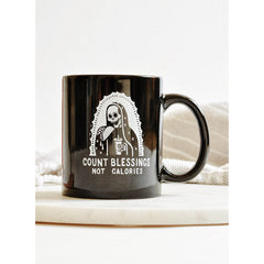 Pyknic Count Blessings Not Calories Coffee Mug Guadalupe Skeleton Taco Funny