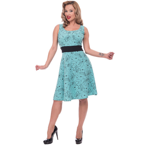 Women's Steady Clothing Pinup State Dress Aqua Retro Vintage Rockabilly Pin Up