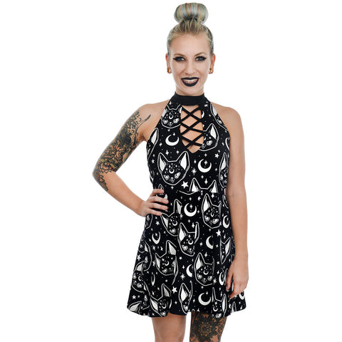 Rat Baby Witchy Cat Choker Strappy Skater Dress Goth Occult Witch Moons