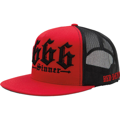 Red Devil Clothing 666 Trucker Hat Black/Red Evil Sinner
