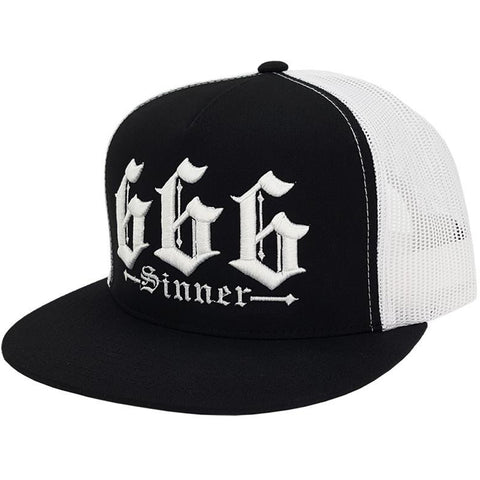 Red Devil Clothing 666 Trucker Hat Black/White Evil Sinner