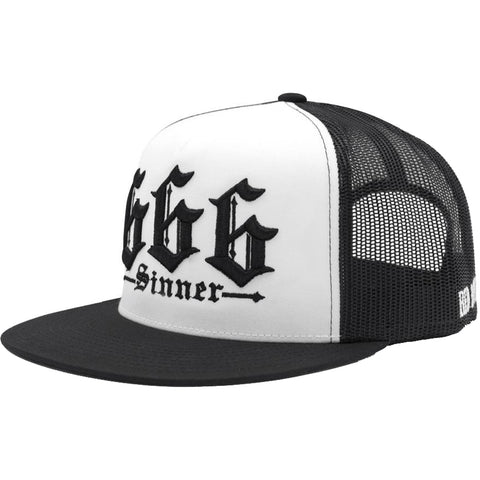 Red Devil Clothing 666 Trucker Hat White/Black Evil Sinner