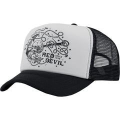 Red Devil Clothing Anchor Trucker Hat Black/White Nautical Skull Tattoo