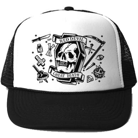 Red Devil Clothing Cheat Death Trucker Black/White Coffin Skull Tattoo Flash