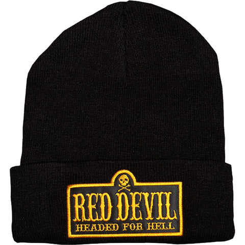 Red Devil Clothing Headed For Hell Beanie Black/Gold Lettering Logo Skull