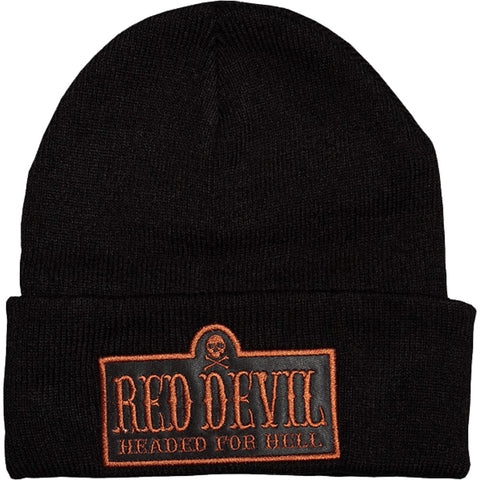 Red Devil Clothing Headed For Hell Beanie Black/Rust Lettering Logo Skull