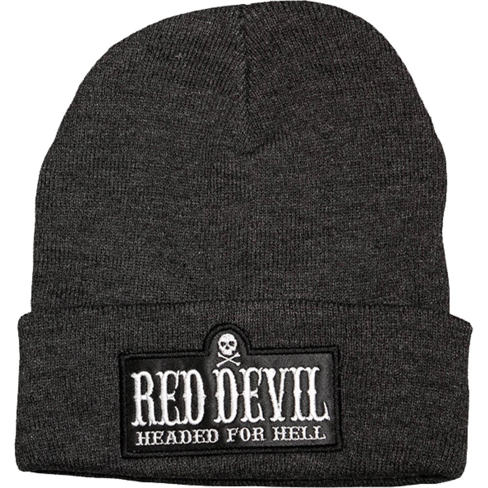 Red Devil Clothing Headed For Hell Beanie Charcoal Grey/White Lettering Logo