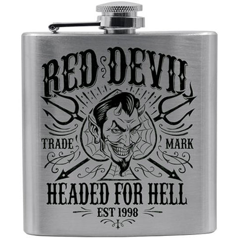 Red Devil Clothing Headed For Hell Flask Devil Spade Pitchforks Evil