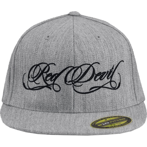 Red Devil Clothing Heather Grey Script FlexFit Flat Bill Hat Logo
