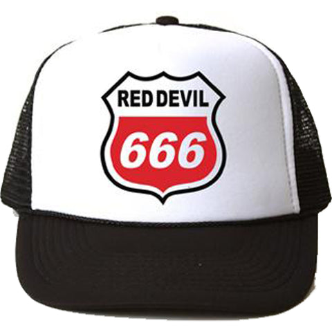 Red Devil Clothing Highway 666 Trucker Black/White Evil Sinner