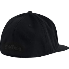 Red Devil Clothing Horned D FlexFit Flat Bill Hat Black/Black Devil Horns Logo