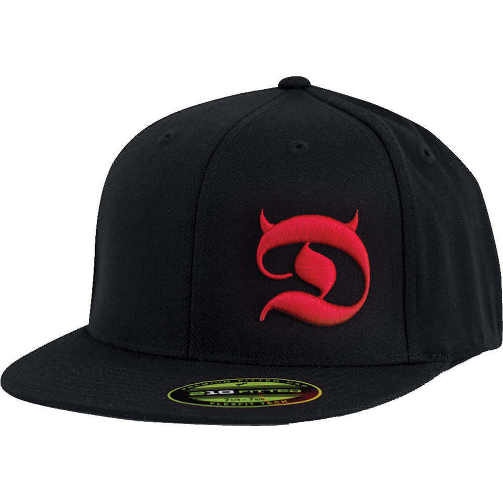Red Devil Clothing Horned D FlexFit Flat Bill Hat Black/Red Devil Horns Logo