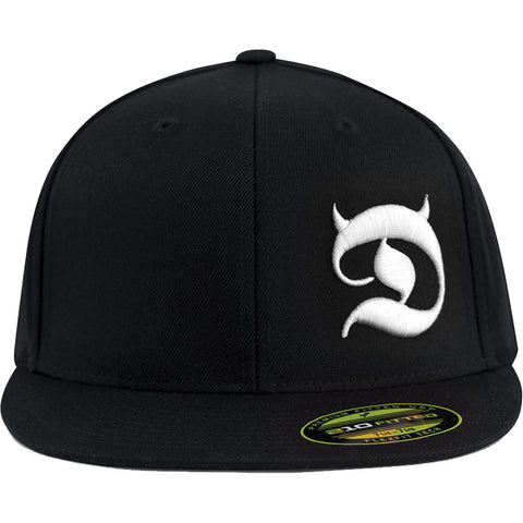 Red Devil Clothing Horned D FlexFit Flat Bill Hat Black/White Devil Horns Logo