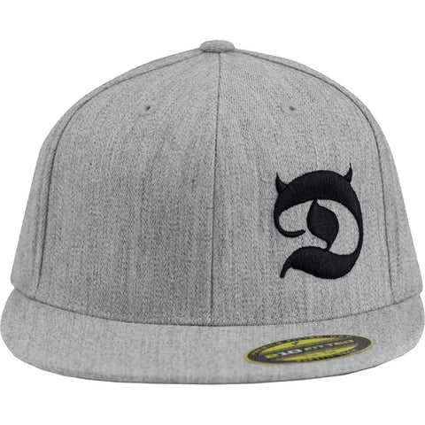 Red Devil Clothing Horned D FlexFit Flat Bill Hat Heather Grey/Black Horns Logo