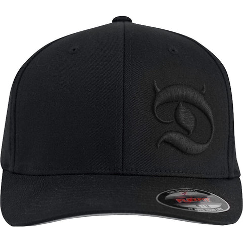 Red Devil Clothing Horned D FlexFit Hat Black/Black Devil Horns Logo