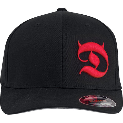 Red Devil Clothing Horned D FlexFit Hat Black/Red Devil Horns Logo