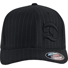 Red Devil Clothing Horned D FlexFit Hat Pinstripe Devil Horns Logo