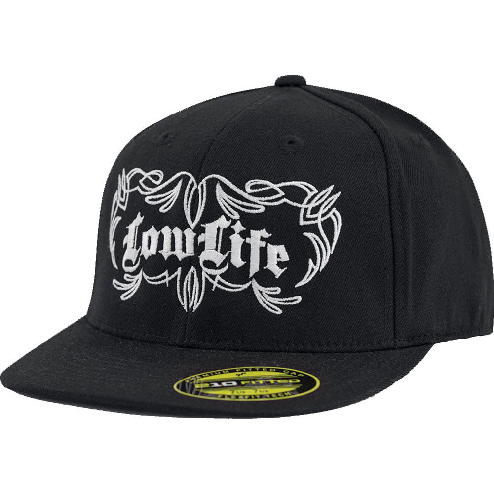 Red Devil Clothing Low Life FlexFit Flat Bill Hat Black Pinstripe Detail