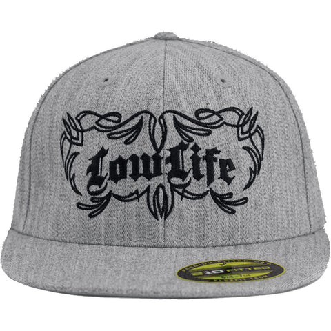 Red Devil Clothing Low Life FlexFit Flat Bill Hat Heather Grey Pinstripe Detail
