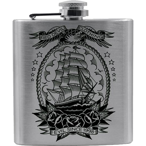 Red Devil Clothing Mariner Flask Nautical Tattoo Flash Ship Roses Eagle