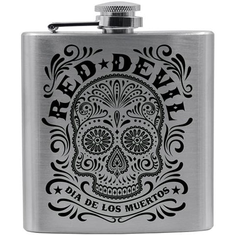 Red Devil Clothing Sugar Skull Flask Day of the Dead