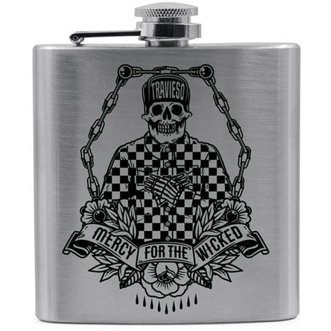 Red Devil Clothing Travieso Flask Cholo Skull Skeleton