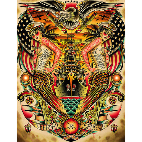 Refuge Canvas Giclee by Tyler Bredeweg American Traditional Nautical Tattoo