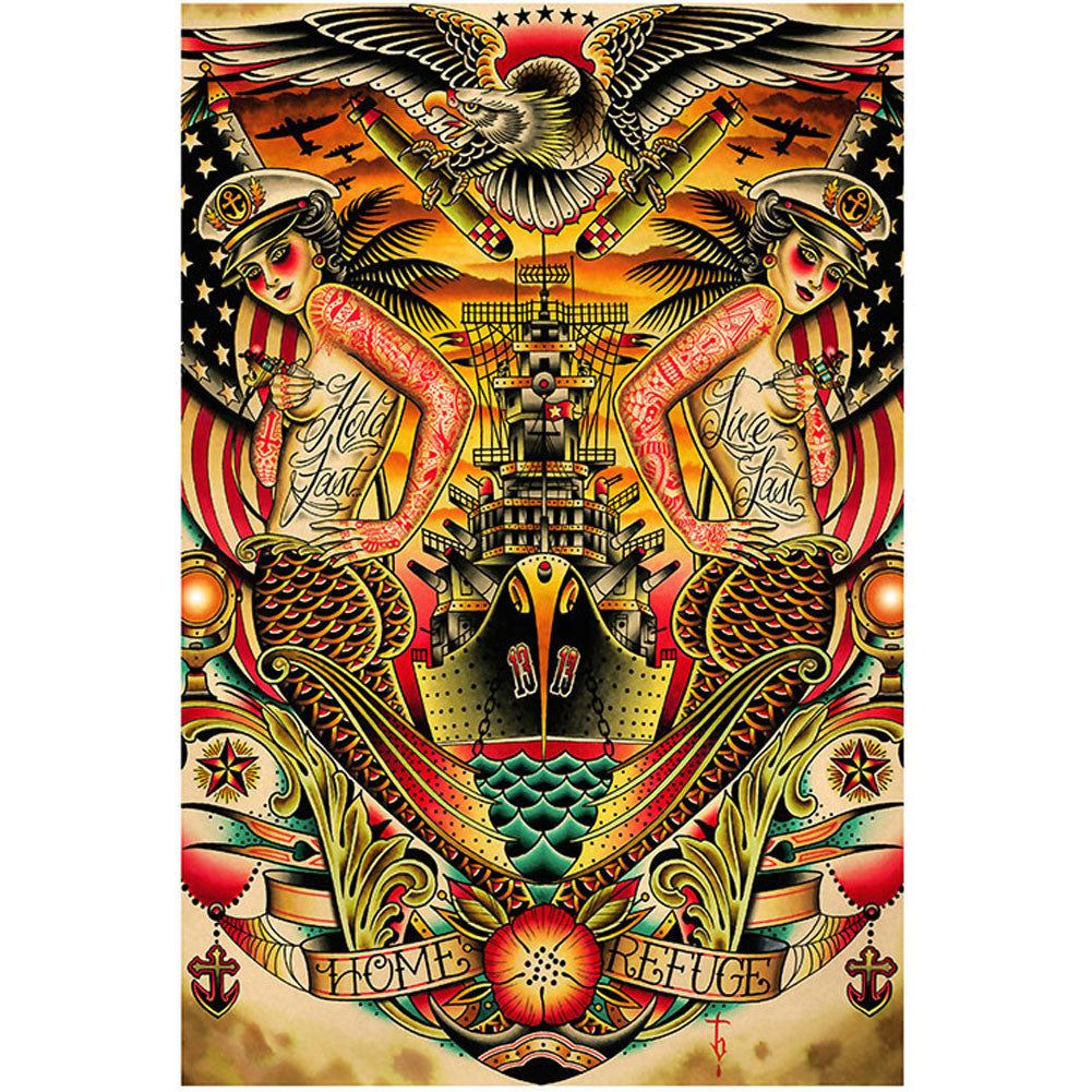 Refuge Fine Art Print by Tyler Bredeweg American Traditional Nautical Tattoo