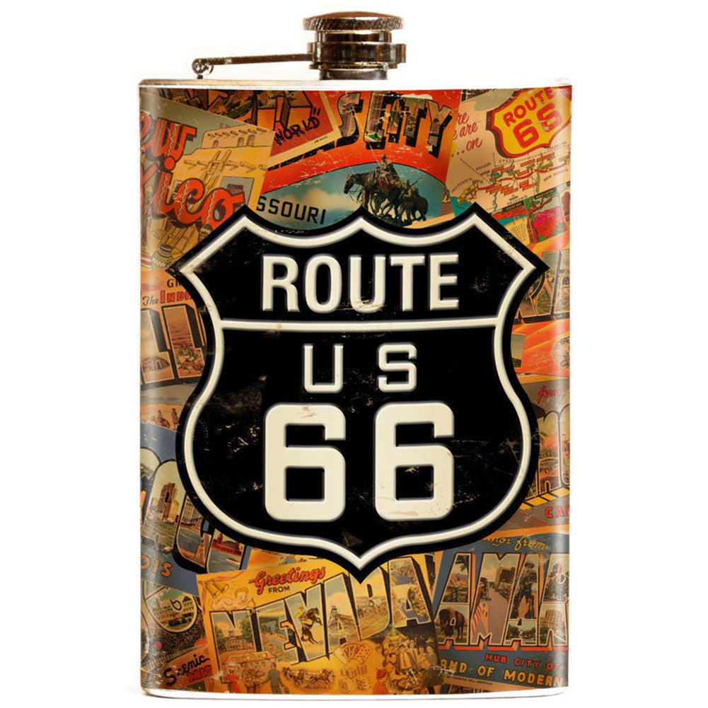 Retro-a-go-go! Route 66 Flask Hot Rod Kustom Kulture Signs