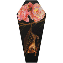Rose & Bat Coffin Canvas Giclee by Noel Terracina Goth