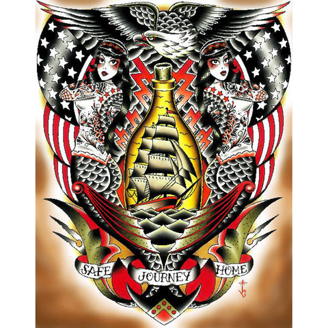 Safe Journey by Tyler Bredeweg Canvas Giclee Traditional Tattoo Nautical Ship