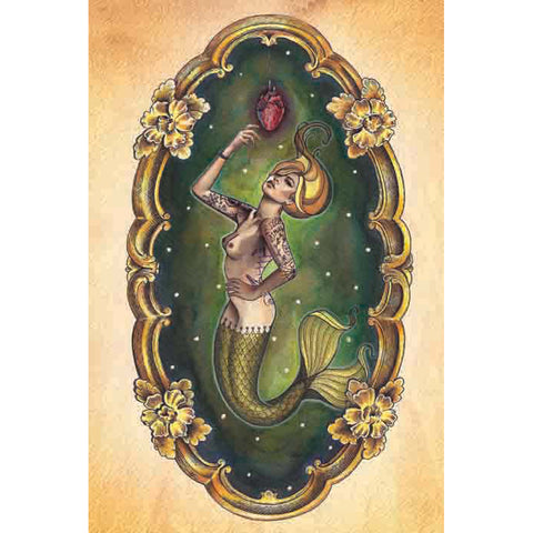 Sailors Grave Fine Art Print by Brittany Morgan Tattoo Mermaid Anatomical Heart
