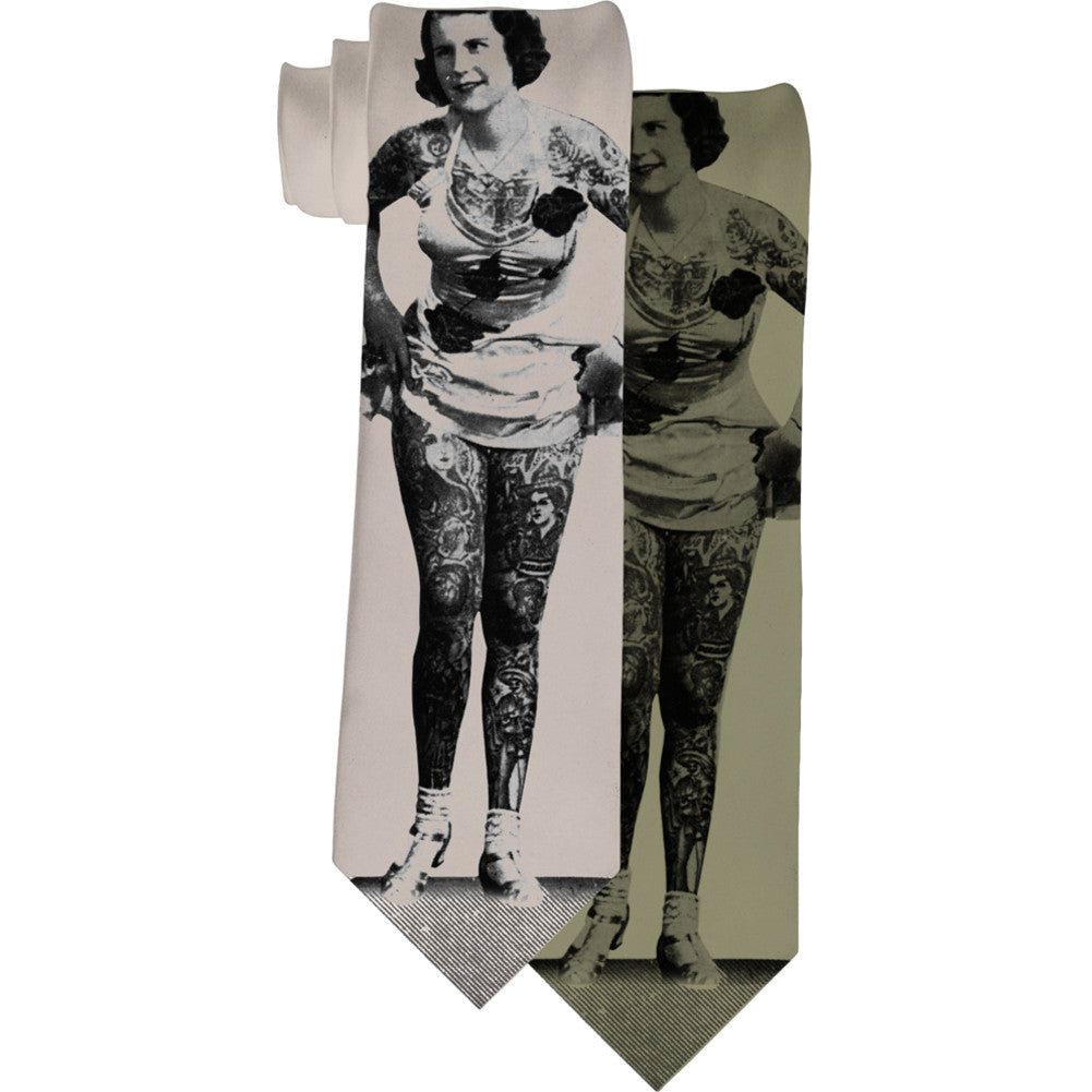 Se7en Deadly Tattooed Lady Necktie Vintage Tattoo Photo