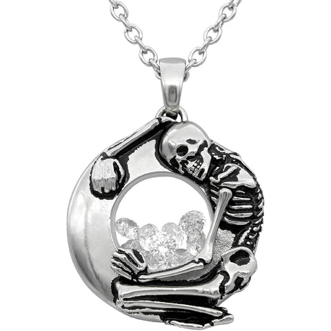 Controse Jewelry Skeleton Floating Charm Necklace Silver Punk Goth