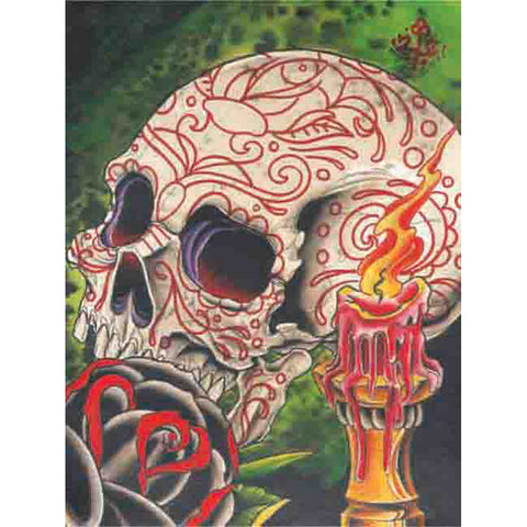 Skull & Candle Fine Art Print by 2 Cents Tattoo Sugar Skull Day of the Dead Rose