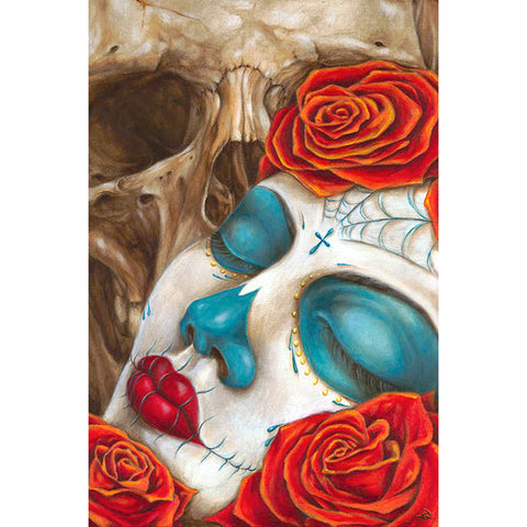 Skull & Roses Fine Art Print by Eric Quezada Day of the Dead Girl Tattoo