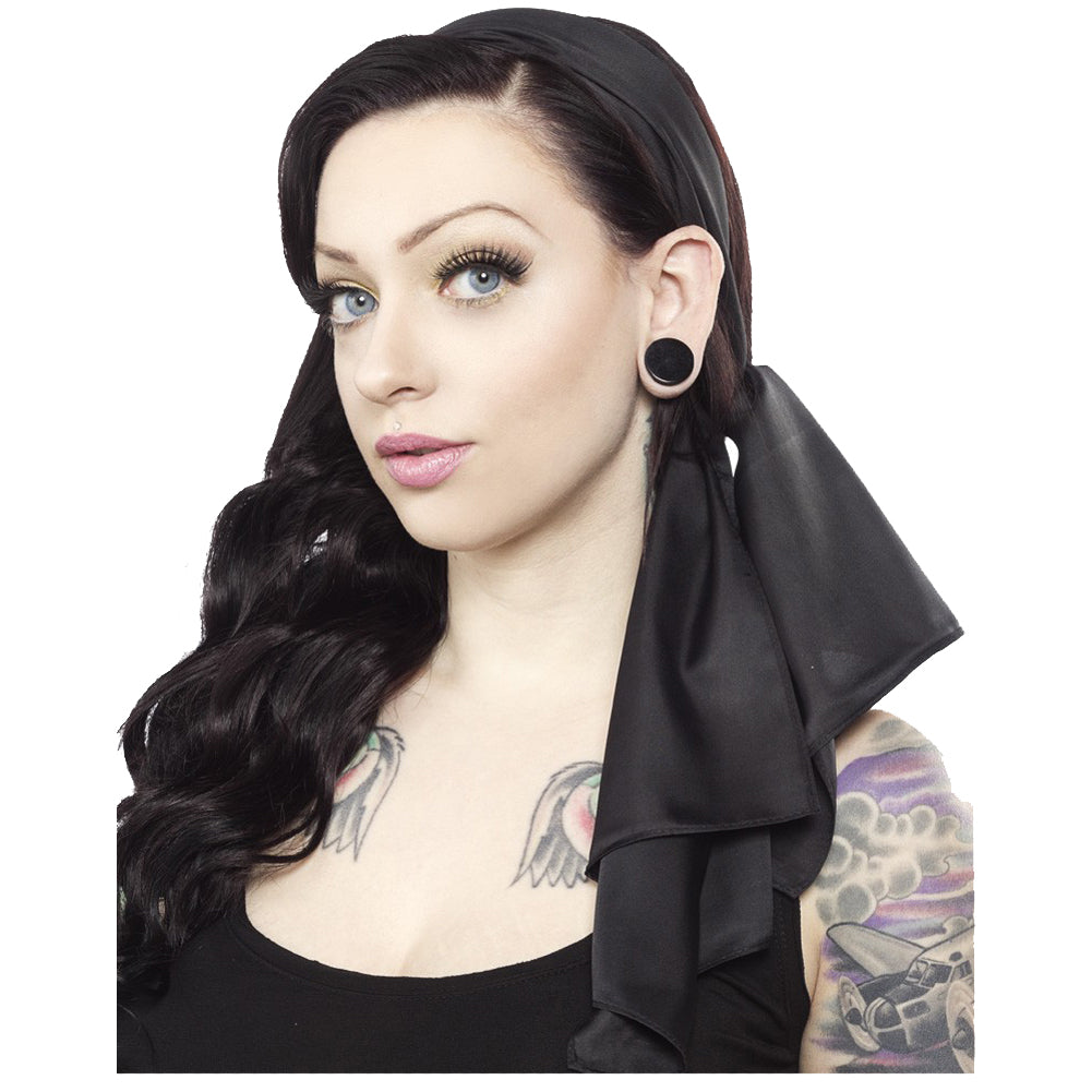 Sourpuss Bad Girl Scarf Black Retro Rockabilly Pinup