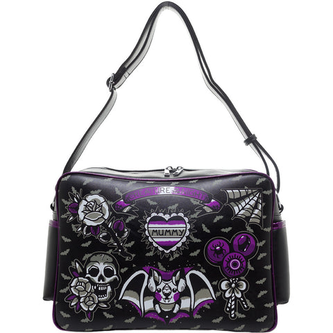 Sourpuss Creature Diaper Bag Goth Mom Alternative Parent Bats Skull Spiderweb